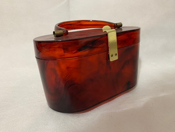 Vintage lucite acrylic tortoise shell box clutch p