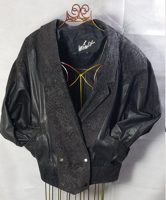 Vintage Winlit black leather jacket, 80s leather a