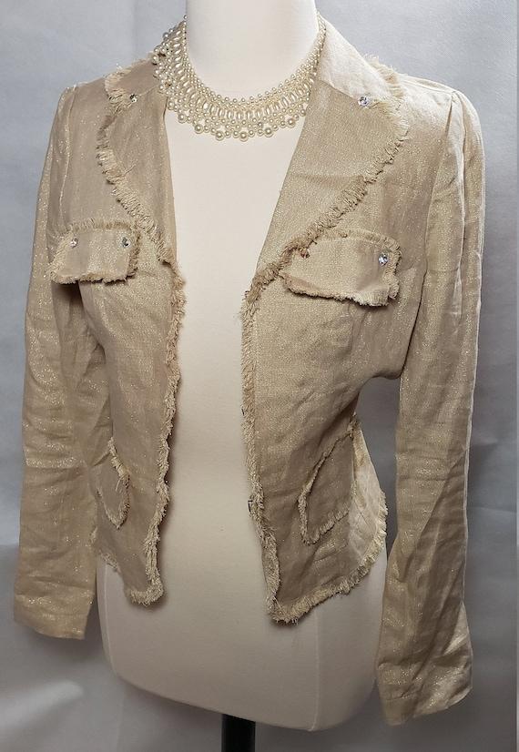 Vintage Gold Blazer, Women's beige linen blazer ja