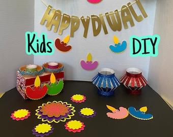 Kids DIY Diwali Decoration Set (No glue/ scissors/ stapler required) - Lanterns, Diya, Banner, Rangoli