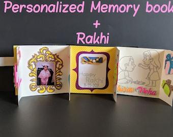 Rakhi-gift hamper including Personalized Rakshabandhan 3D Photo Memory book + Rakhi + Sweet/Chocolate