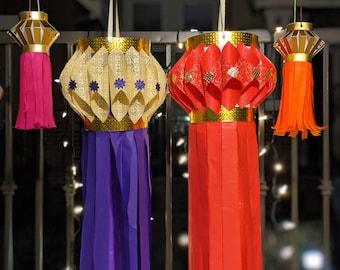 Set of decorative fabric paper Diwali lanterns (Pack of 3)