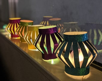 Pack of 10 assorted DIY Diwali lanterns (sold flat-No need of glue/stapler)