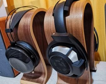 Polished Wooden Standing Desk Headphone Holder, Omega Shaped Steady Wooden Stand For Headphones