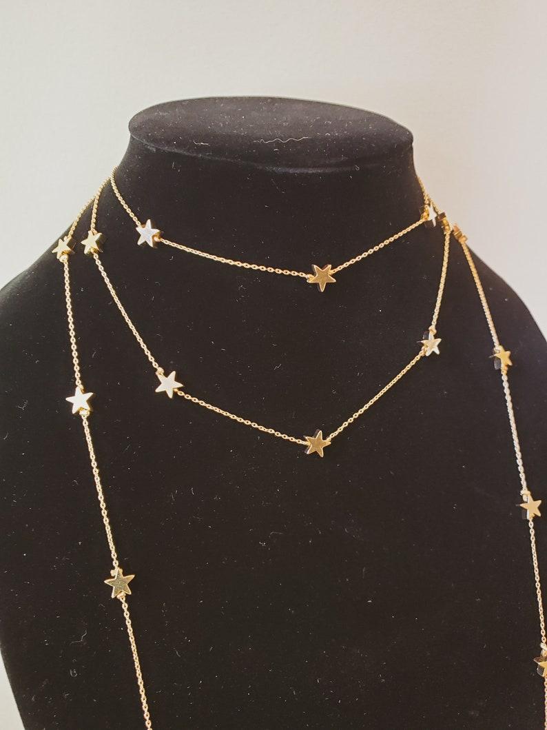 Minimalist Necklace Star Choker Necklace Layered Necklace Dainty Necklace Layered Star Necklace