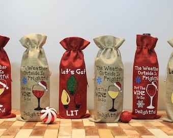 Holiday Wine Bags, Funny Wine Bags, Gift Bags, Wine Totes, Reusable Wine Bag, Christmas Wine Bag, Burlap Wine Bag
