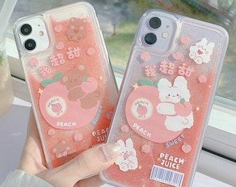 Peach Quicksand Glitter Kawaii Rabbit Bear Animal Fruit Juice Phone Case