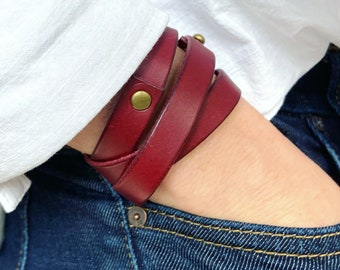 Leather Wrap Bracelet Handmade - Red Burgandy Leather + Brass