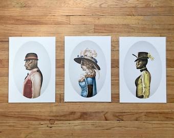 "Set of 3 Prints: Victorian Insect ""Dapperbug"" Portraits"