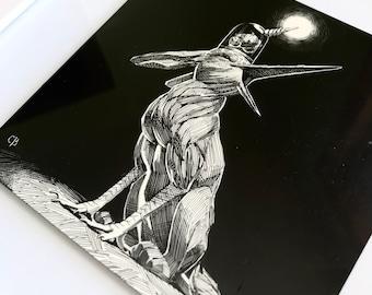 Curious Creature Original Framed Ink Scratchboard