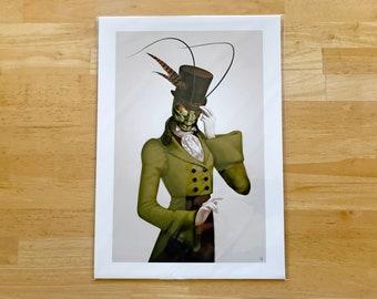 "Art Print: ""Monocle Mantis"" Victorian Insect Gentleman"