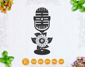 Microphone svg file, classic microphone with flower cut file, floral microphone, reporter sign svg, podcast logo, vintage microphone svg