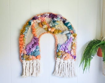 Woven Wall Hanging, woven Tapestry, Wall Hanging, Macrame Wall Hanging, Yarn Wall Tapestry, Boho Wall Decor, Fiber Art