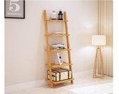 Tier Book Shelf Bamboo Storage Rack Shelves Wall Leaning Shelf Corner Display Bookcase for Living Room, Bathroom, Kitchen, Office