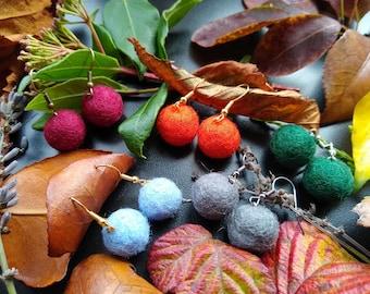 Autumn Colours Handmade Wool Feltball Earrings