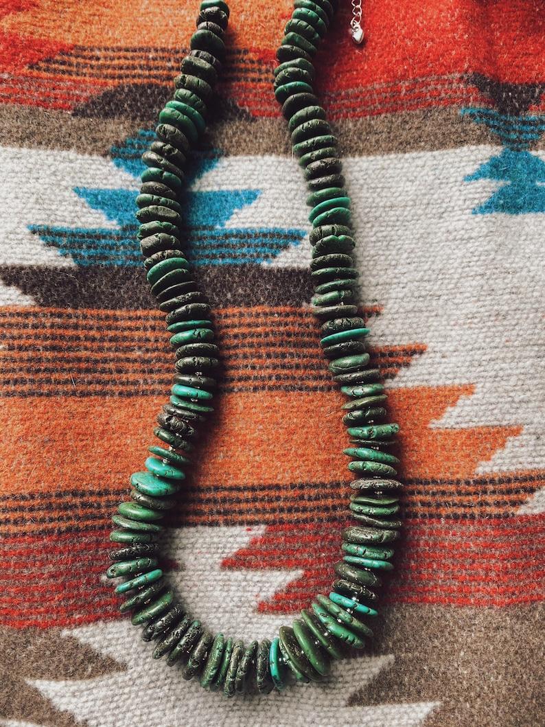 Genuine Kingman Blue Green and Dark Green Turquoise Statement Necklace Boho Western Beaded Gemstone
