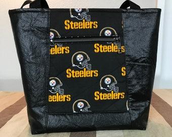 Pittsburgh Steelers Large Tote Bag, Shoulder Bag, Travel Bag w/Vegan Leather, Outside Zipper Pocket, Magnetic Snap Closure, Inside Pockets