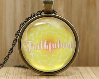 Faithfulness Pendant, Celtic Knot Necklace, Fruit of the Spirit, Single-Word Irish Knot, Galatians Bible Verse,