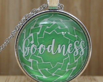 Goodness Pendant, Celtic Knot Necklace, Indie Jewelry, Fruit of the Spirit, Single-Word Irish Knot, Galatians Bible Verse, Church Gift
