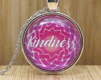 Kindness Pendant, Celtic Knot Necklace, Indie Jewelry, Fruit of the Spirit, Single-Word Irish Knot, Galatians Bible Verse, Church Gift