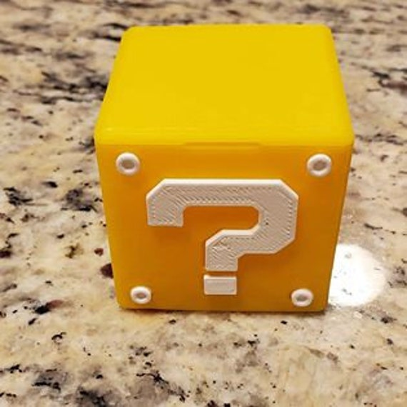Mario 3D Printed Question Block SD  MicroSD Card Case
