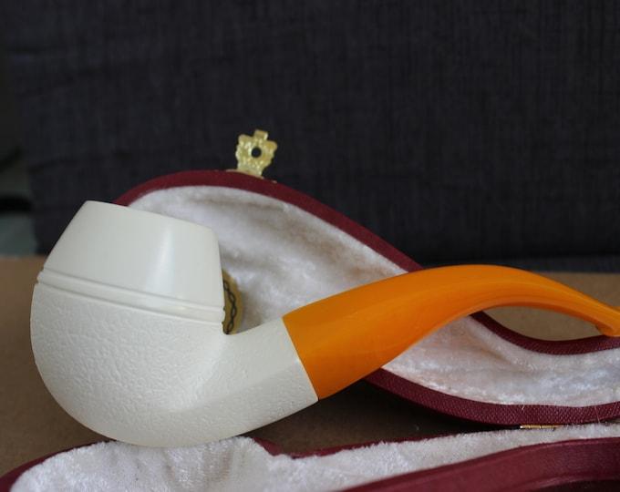 STAR MEERSCHAUM Pipe - Baskerville style bulldog block meerschaum pipe