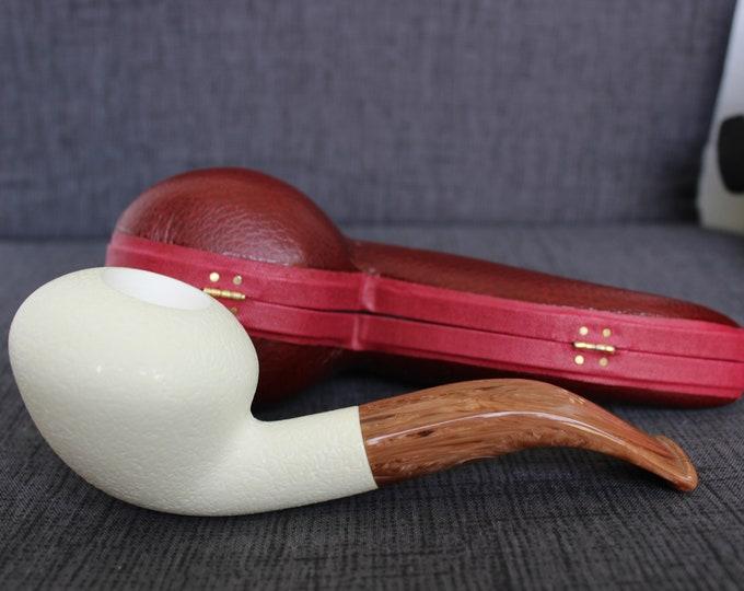 STAR Meerschaum pipes -Bent stylish block meerschaum pipe rustic finish