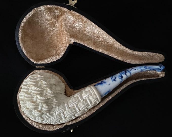 Meerschaum pipes by STAR -Block Meerschaum Basket design carved pipe
