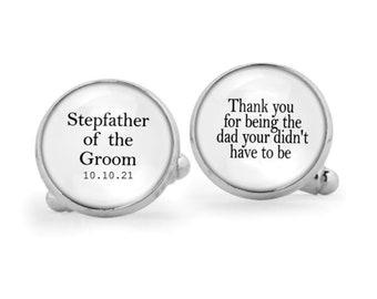 Stepfather Of the Bride Cufflinks-Custom Cufflinks-Wedding Cufflinks-Cufflink Box-Wedding party gift-Stepfather Gift-Gold Wedding Cufflinks