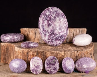 LEPIDOLITE and White ALBITE Worry Stone - Xs-XXL - Carved Crystal, Palm Stone, Crystal Decor, Empath Protection, E1654