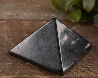SHUNGITE Pyramid – Hand Carved, Crystal Grid, Home Decor, Crystal Pyramid, E0308
