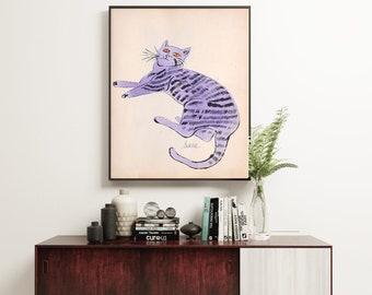 Andy Warhol Cat Print, Vintage Print, Warhol Cat Called Sam Print, Basquiat Art, Warhol Print, Exhibition Print, Andy Warhol