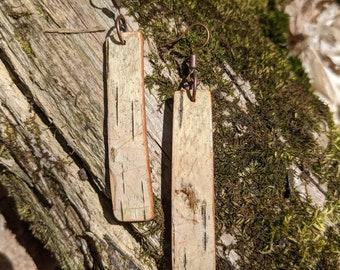 Natural birch bark earrings