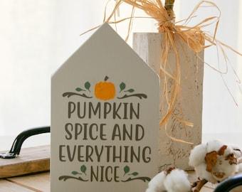 Wooden house autumn ''Pumpkin Spice ...'', autumn decoration, autumn sign, country house decoration, farmhouse sign, decoration house, wooden house