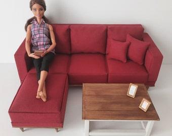 Barbie Size Miniature Corner Sofa,  Dollhouse Furniture  Scale 1/6 Corner Sofa