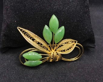 Vintage Beautiful 70s Genuine Maruquise Natural Stone JADE Filigree Foliage Brooch PIN REF 380