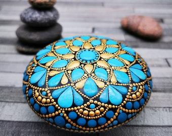 Mandala Stone Painted / Paint Rocks / Jewel Drop Mandala Paint Stone / Mandala Rocks