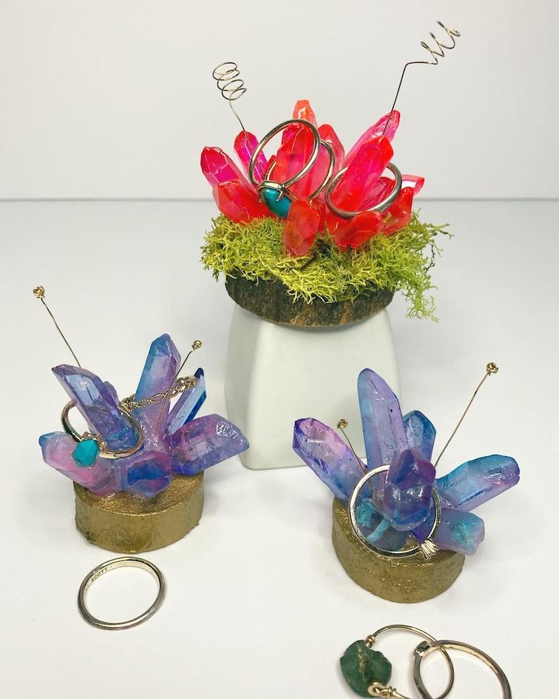 Handmade Whimsical Crystal Ring Jewelry Holder Moss Ring Cone Dish Crystal Ring Holder