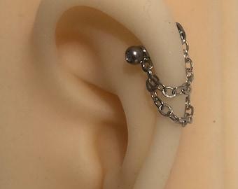 Convertible Ear jacket, helix, cartilage piercings, earring chain, forward helix, ear cuff, piercing chain, helix chain, chain earring,