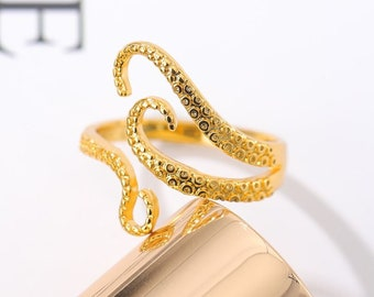 Octopus Tentacle Ring Octopus leg Adjustable Fashion Rings for Girls Women Gold Rose Tentacle girls Xmas gifts Ring in Pure Sterling Silver
