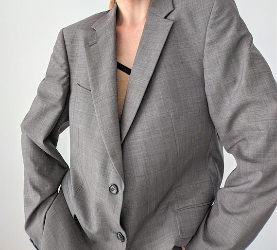 Vintage men's grey oversized blazer