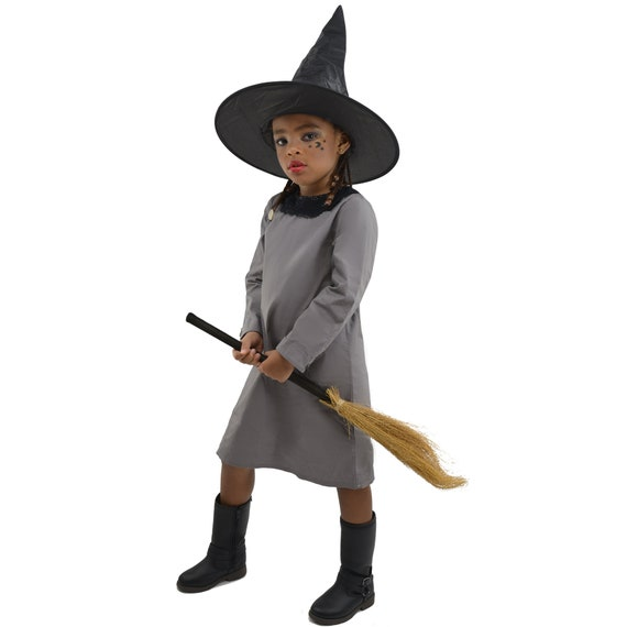 3PC Girls Little Witch Halloween Costumes One-Piece Dress w/ Hat and broom for Kids