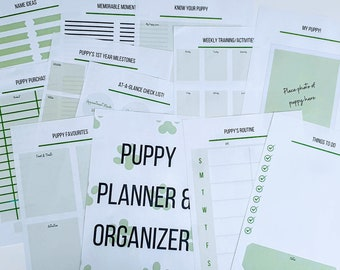 Puppy Planner and Organizer, Digital Planner, Puppy Record Book and Puppy Journal