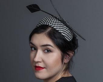 Ingrid check black/&white bandeau modern fascinator with arrowhead turkey feathers
