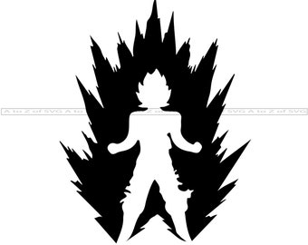Dragon Ball Z svg Dragon Ball Z Silguette svg Goku Silhuette svg Goku Layer svg The Beast Within svg Goku svg Super Saiyan svg