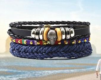 Leather Skull Blue Rivet Punk Bracelet, Triple Layer Men's Leather Bracelets, Women Vintage Bangle Male Homme Men Jewelry Accessories