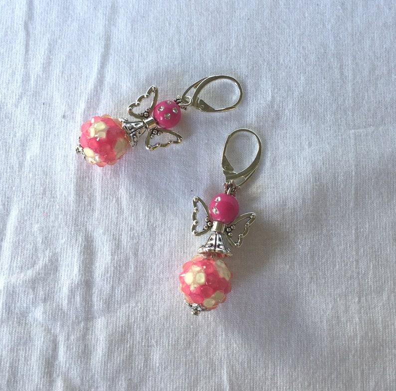 Bead Angel Earrings Pink Angel Earrings Gift For Her Adorable Angel Earrings Christmas Earrings OOAK Glass Beaded Earrings