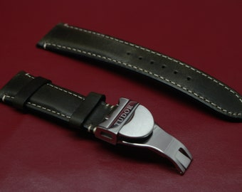 TUDOE VINTAGE STLYE Leather Straps .20mm22mm. 4 X Colors +Deployment Buckles 7 X Colors