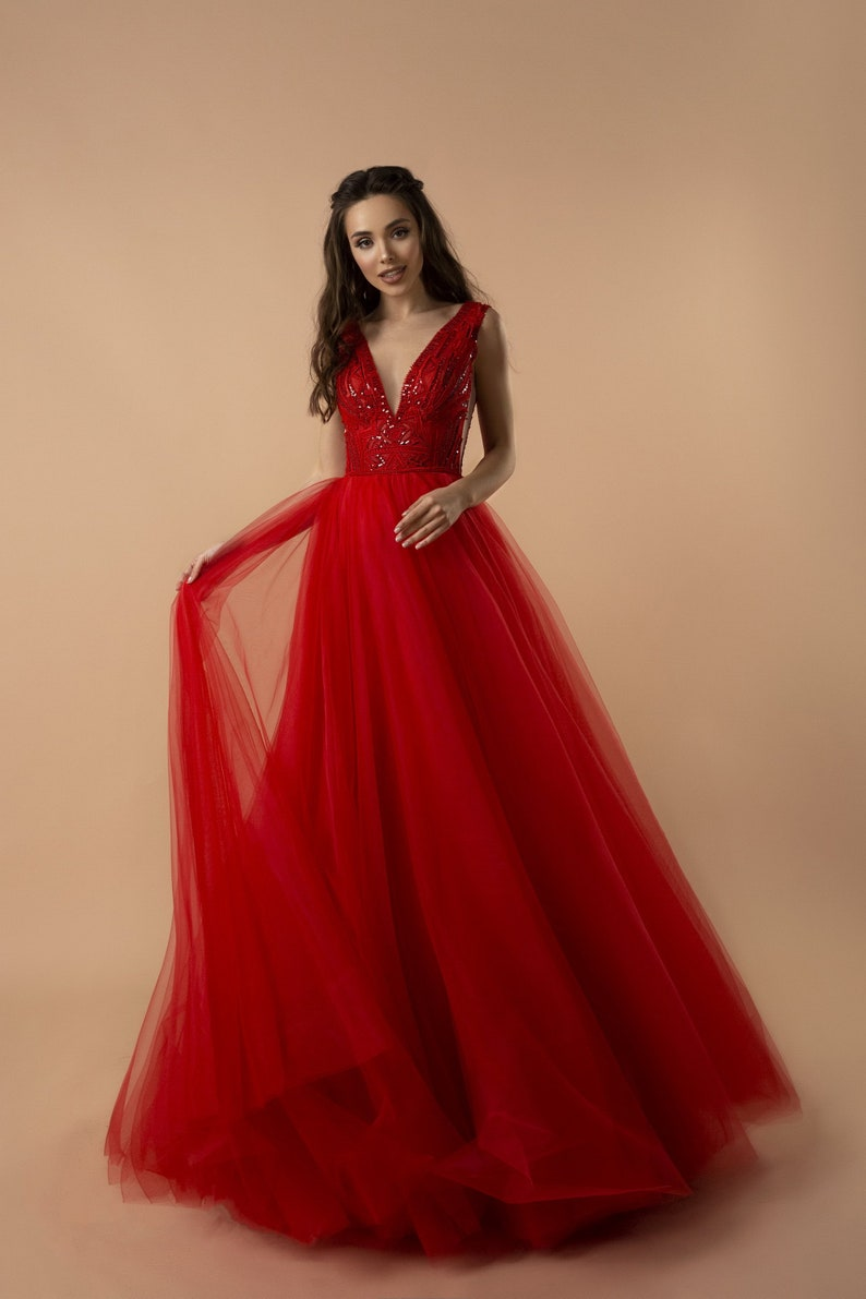 Red Tulle Dress Tulle Simple Dress Prom Dress Evening image 0