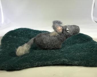 Needle felted donkey, nativity character, ready to ship!